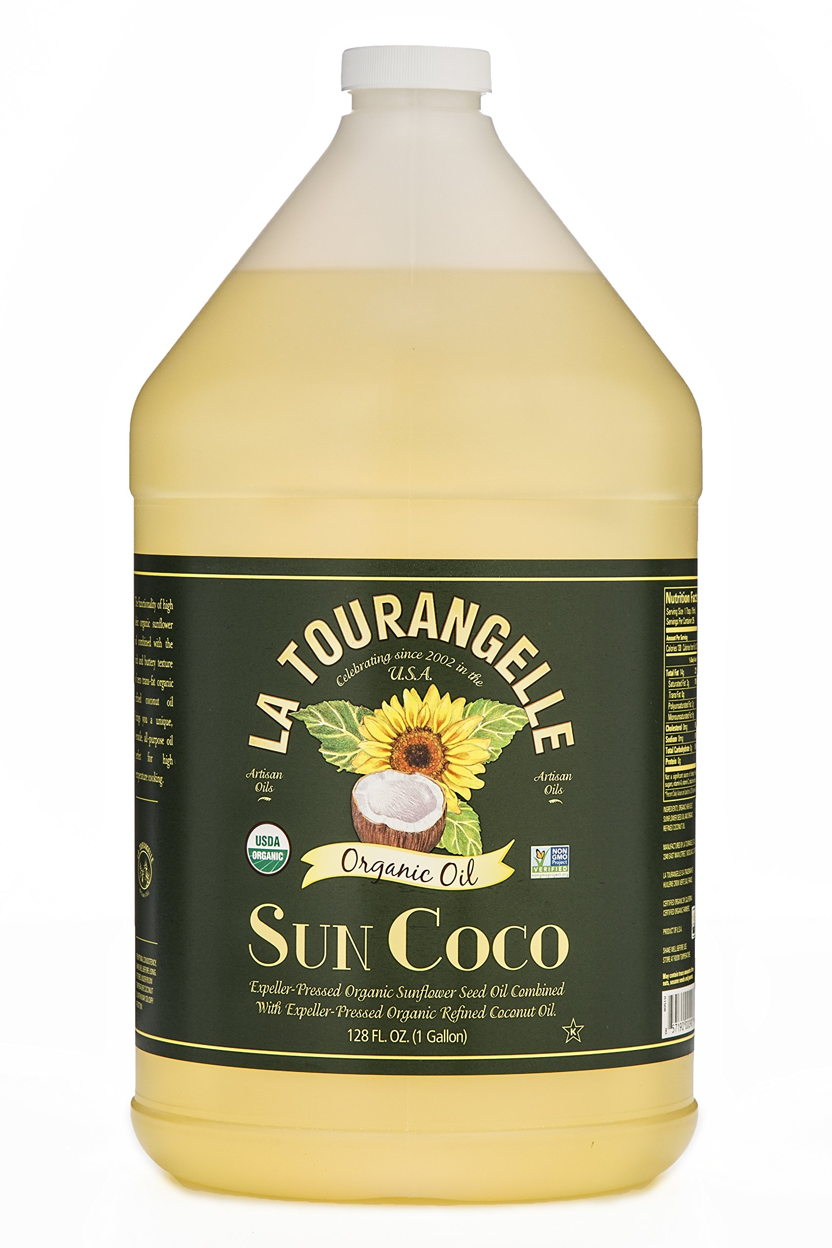 La Tourangelle Organic Sun Coco Oil 128 Fl. Oz., Neutral Flavor & High Smoke Point, Blend of Organic Sunflower Oil and Organic Coconut Oil