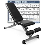 RitFit Adjustable / Foldable Utility Weight Bench for Home Gym, Weightlifting and Strength Training - Bonus Workout…