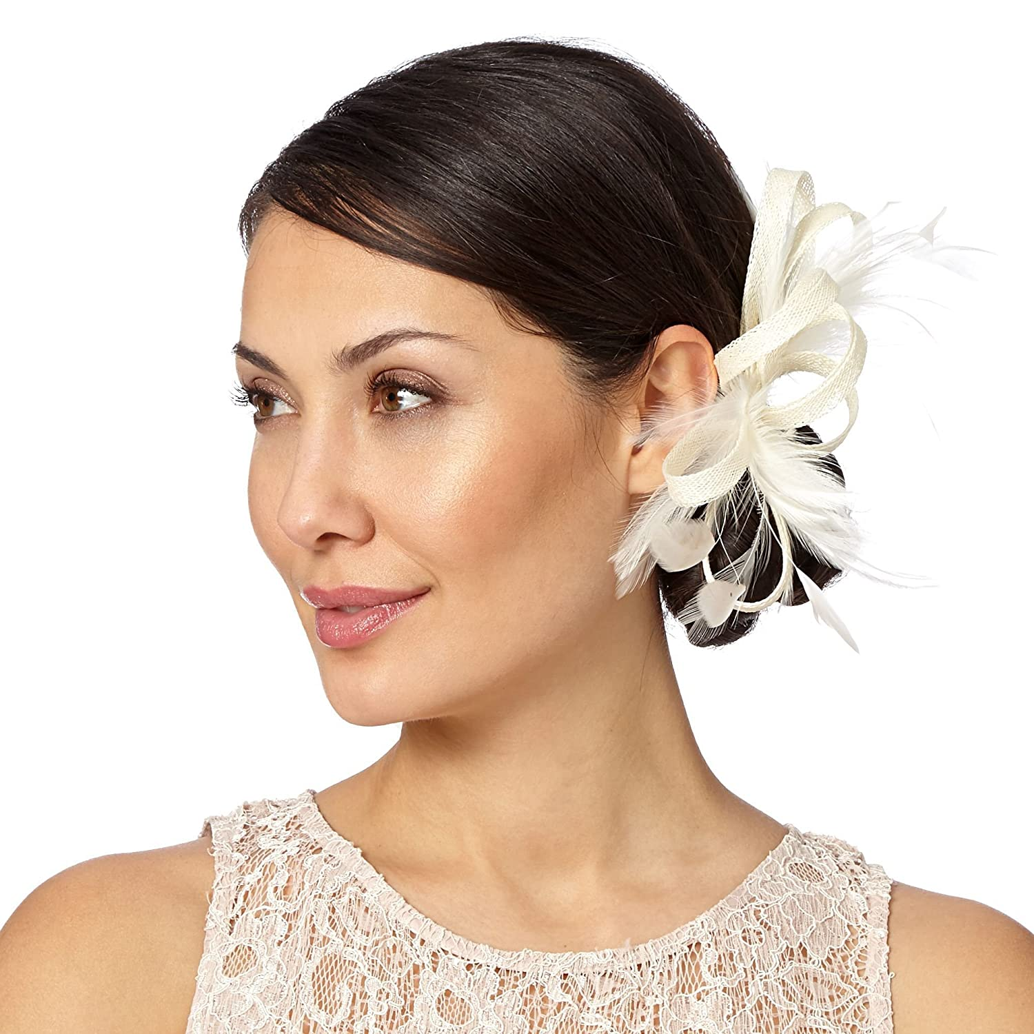 Debut Womens Ivory Curled Feathered Clip