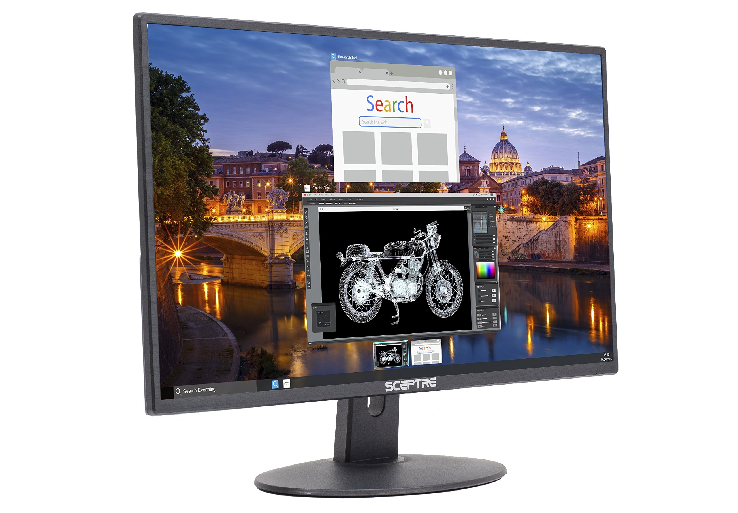 Sceptre E225W-19203R 22'' Ultra Thin 75Hz 1080p LED Monitor 2X HDMI VGA Build-in Speakers, Metallic Black 2018 by Sceptre