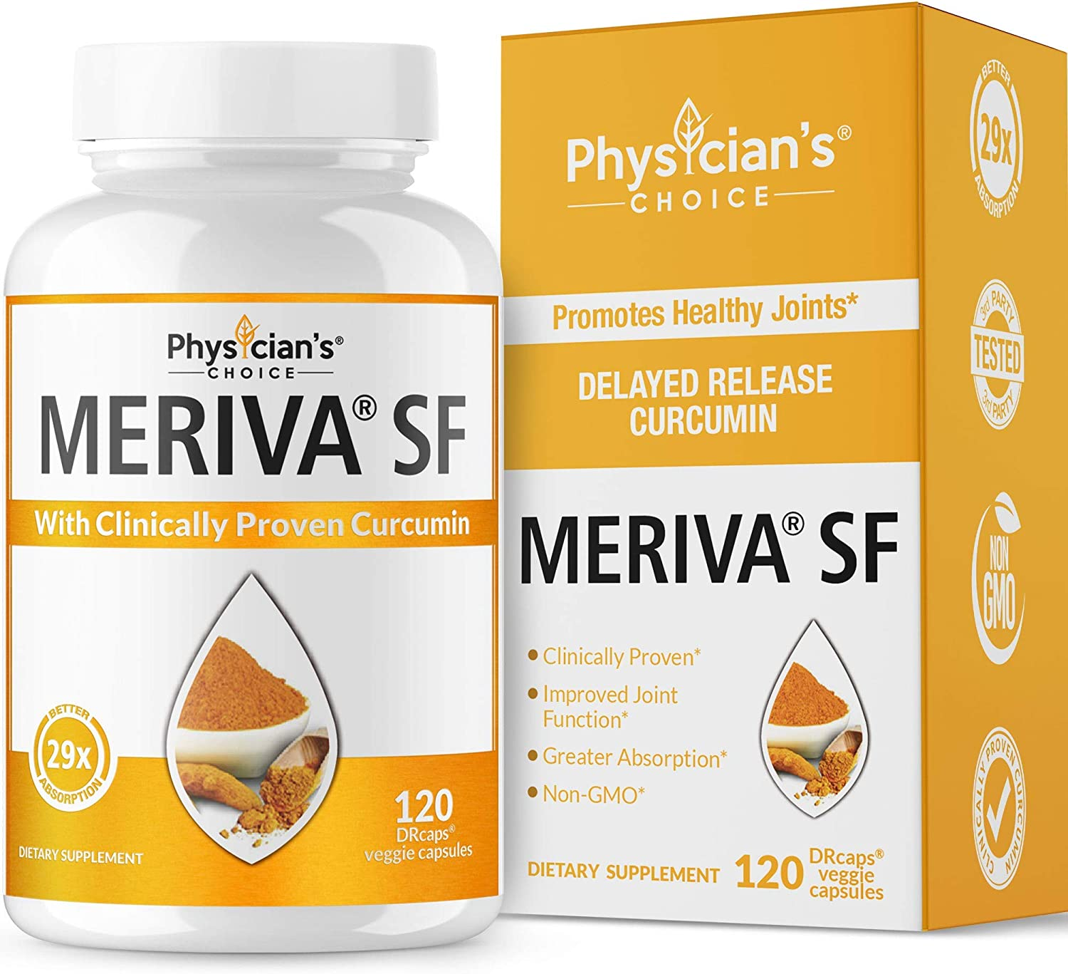Meriva Curcumin 500, Clinically Proven 29X Better Absorption Than Ordinary Turmeric Curcumin Supplements, Proven Joint Support Inflammatory Response, Soy Free, Sustained Release, 120 Capsules