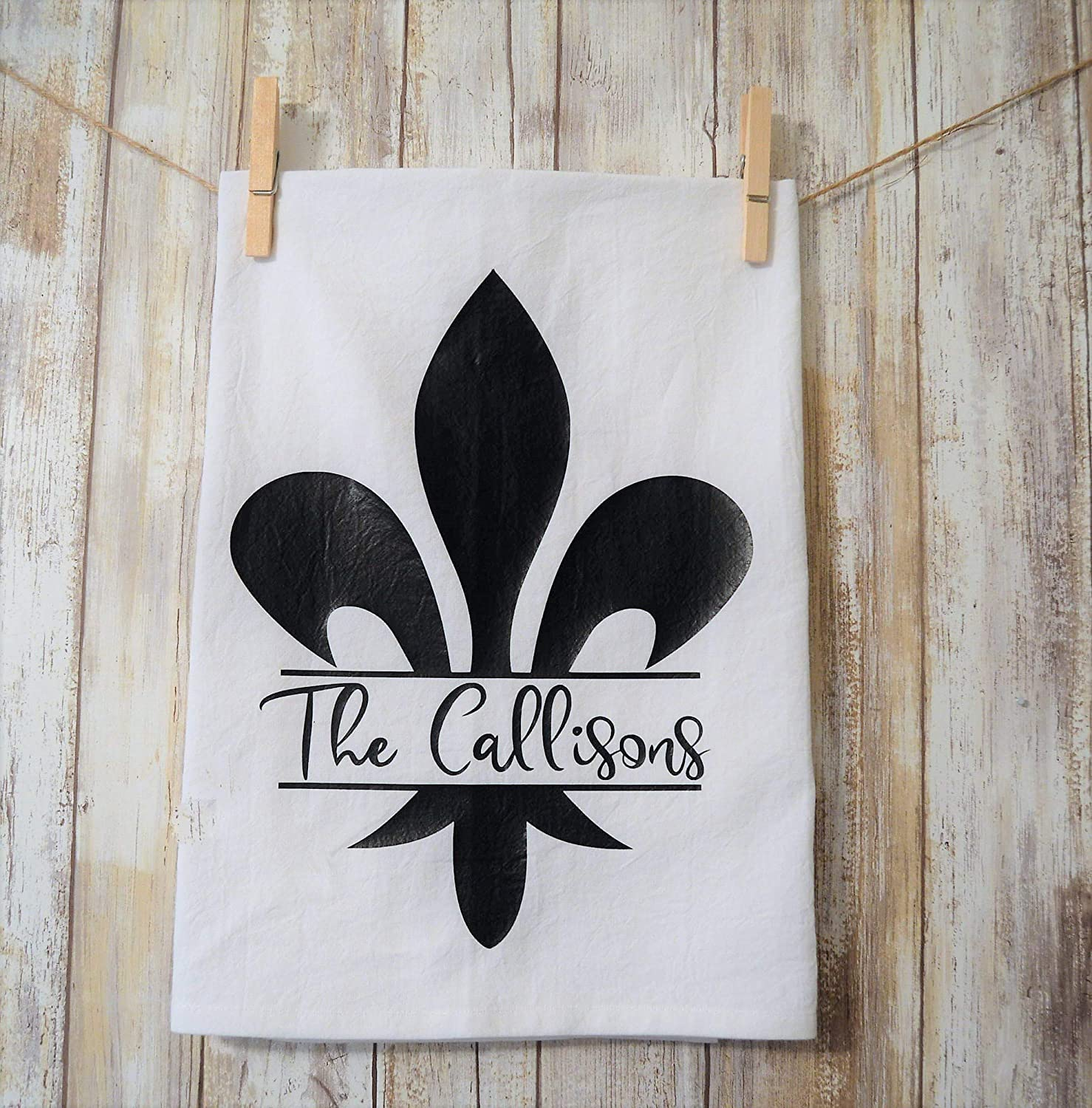 Amazon.com: Personalized Fleur-De-Lis Kitchen Tea Towel ...