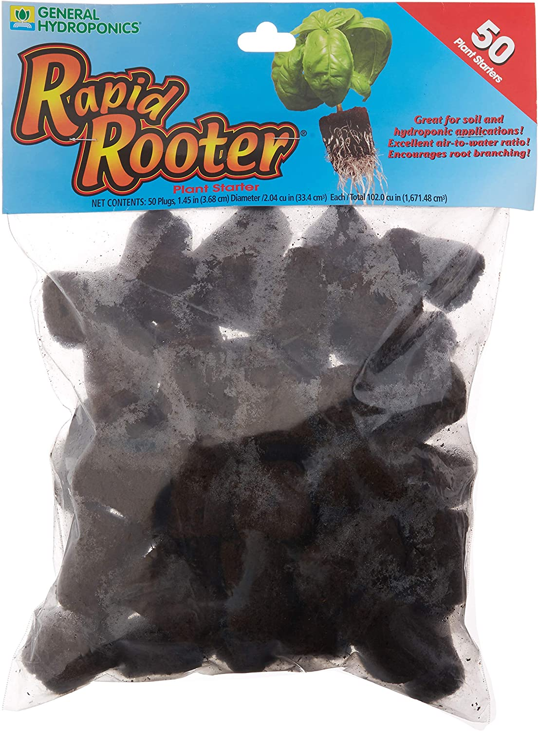 General Hydroponics HGC714135 Rapid Rooter Plant Starters, 50 Plugs, Black : Plant Germination Kits : Garden & Outdoor