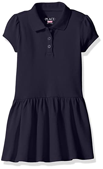 96304b40f The Children's Place Big Girls' Short Sleeve Uniform Polo Dress, Tidal,  Medium/