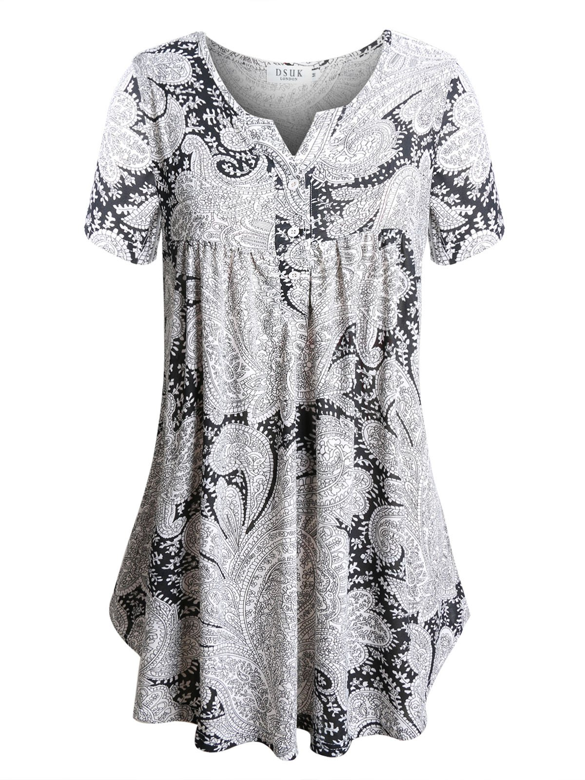Floral Print Tunic,DSUK Women's Crewneck Aline Hem Long Style Button-down Big Flowy Trendy Elegant Cosy Pleats Gorgeous Snugly Blouse Knitted Shirts for Perfect Daytime Look Black and White Large