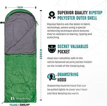 realizzato in poliestere Ripstop caldo e resistente allacqua compatto pi/ù 2 eBook gratuiti 3 stagioni Endor Forest per campeggio con busta singola Sacco a pelo per adulti e bambini leggero