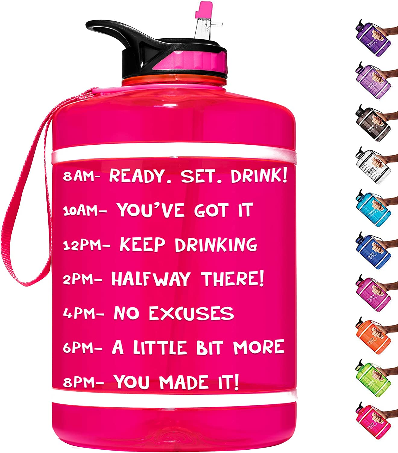 HydroMATE 1 Gallon Motivational Water Bottle with Time Marker Large BPA Free Jug with Straw & Handle Reusable Leak Proof Bottle Time Marked Drink More Water Daily Hydro MATE One Gallon 128 oz