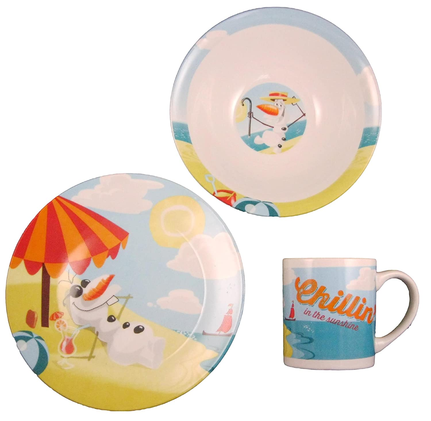 Amazon.com Disney Frozen Olaf Chillin In The Sunshine Ceramic 3-piece Dinnerware Set - Plate Bowl and Mug Kitchen u0026 Dining  sc 1 st  Amazon.com : disney dinnerware sets - pezcame.com