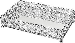 Elegant Designs Elipse Crystal Decorative Jewelry or Makeup Vanity Organizer Mirror Tray, Chrome