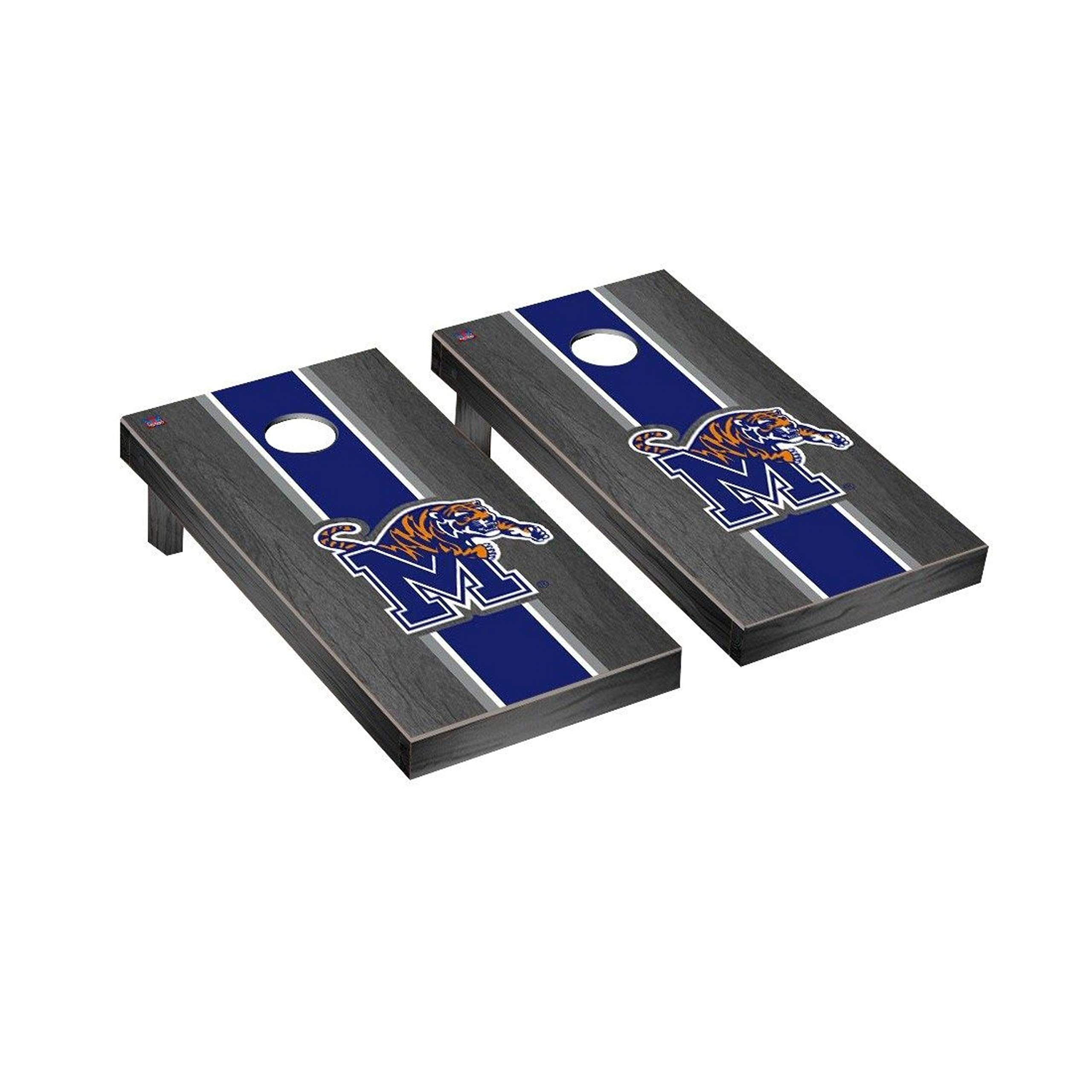 Victory Tailgate Regulation Collegiate NCAA Onyx Stained Stripe Series Cornhole Board Set - 2 Boards, 8 Bags - Memphis Tigers by Victory Tailgate
