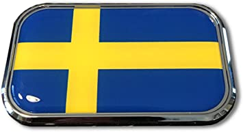 Amazon Com Sweden Domed Chrome Emblem Proud Usa City Flag Car 3d 3 X 1 8 Sverige Automotive