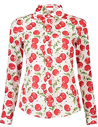 6f2685ab6ad DOKKIA Women s Tops Feminine Long Sleeve Cute Cherry Button Down Casual  Dress Blouses and Shirts (