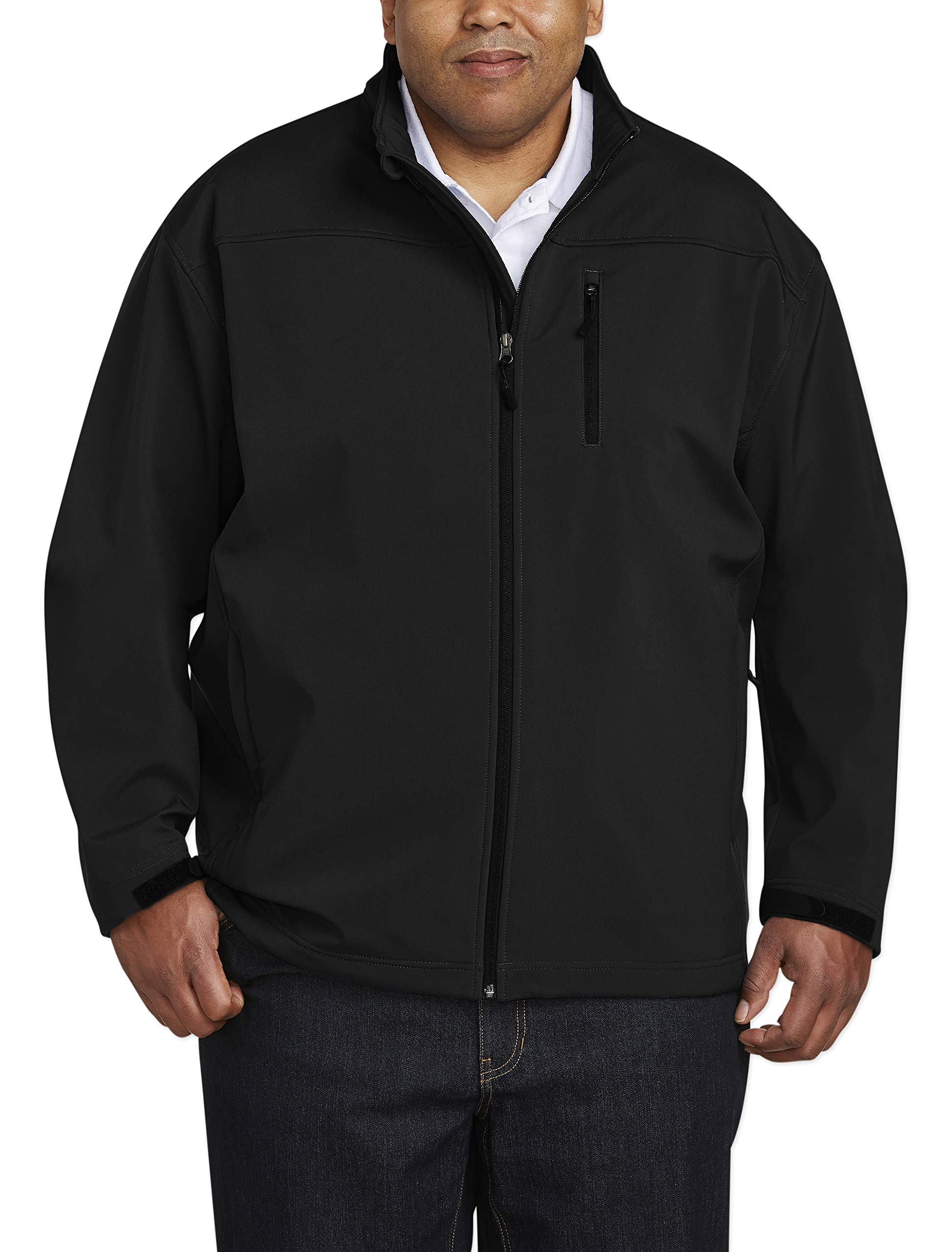 Amazon Essentials Men's Big & Tall Water-Resistant Softshell Jacket fit by DXL, Black, 2X