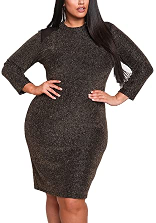 Debshops Womens Plus Size Mesh Shoulder Sparkle Bodycon Dress 1XL Gold