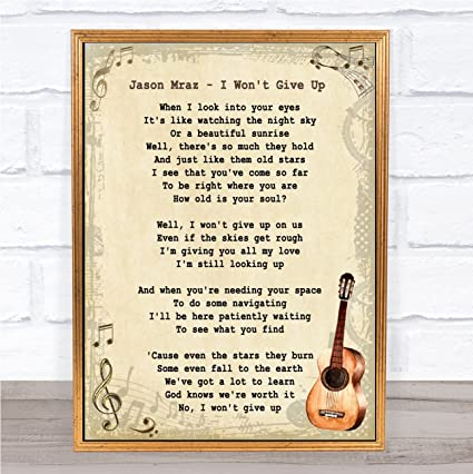 Amazon.com : I Won\'t Give Up Song Lyric Vintage Quote Print ...