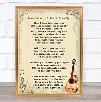 Amazoncom I Wont Give Up Song Lyric Vintage Wall Art Quote Print