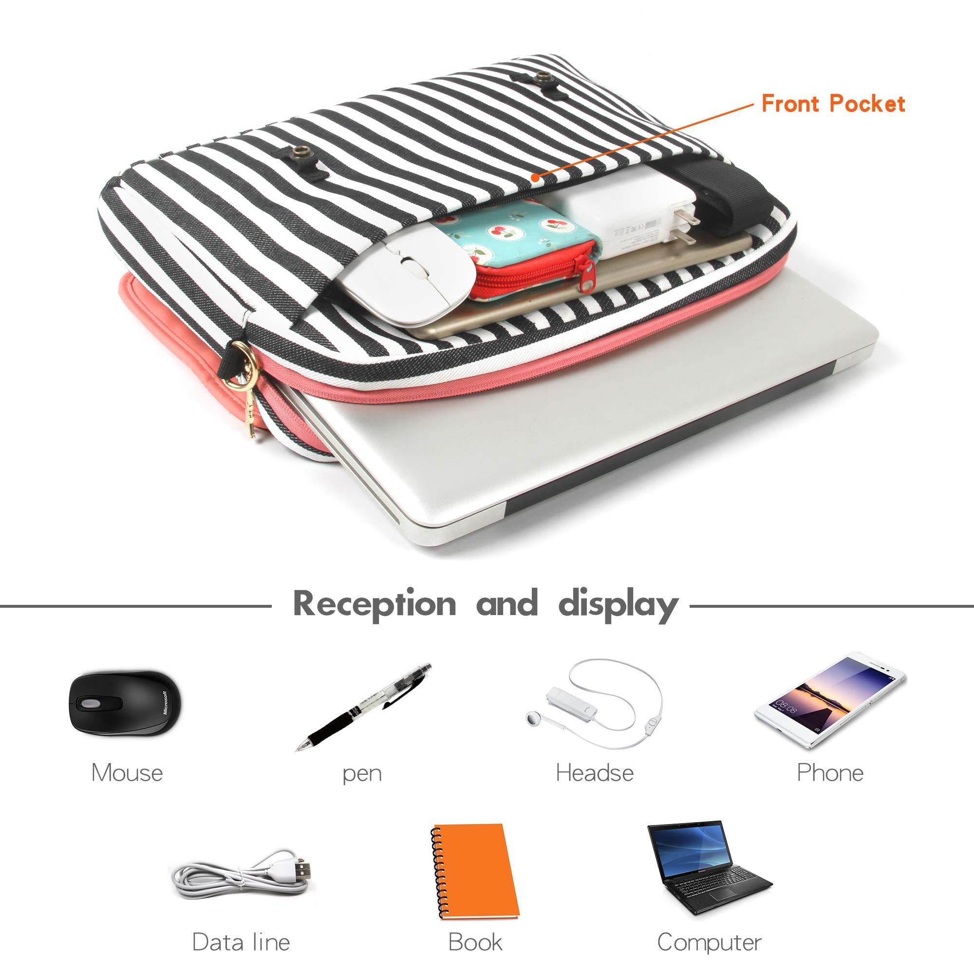 Kamlui Laptop Bag 15.6 Inch - for Women,PU Leather Canvas Shoulder Messenger Laptop Tote Bag Briefcase-for MacBook Air Dell Lenovo HP Samsung - Laptop Computer Case. by Kamlui (Image #6)