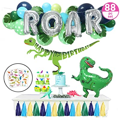 "Dinosaur Party Supplies – 88pc Little Dino Party Decorations Set, 30"" BIG T Rex, ROAR, Happy Birthday Banner, Tattoo Stickers, Jungle Theme Balloon Garland - Boys Girls Toddlers: Toys & Games"