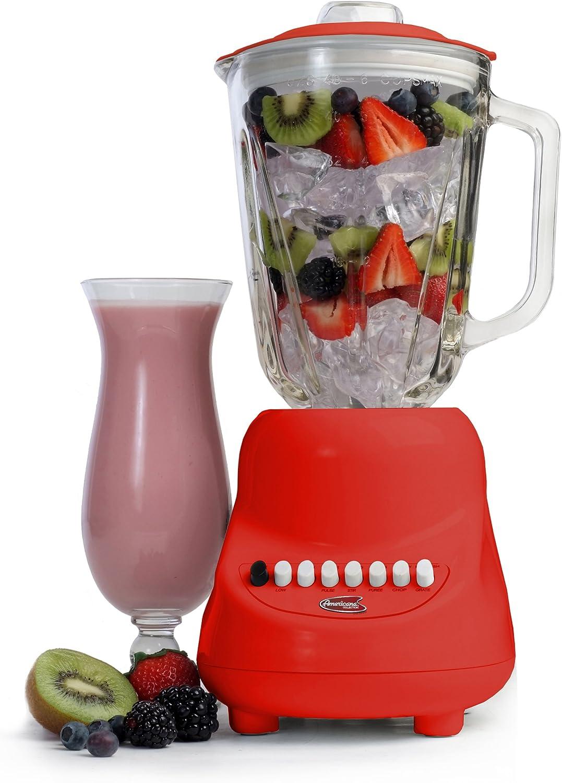 Elite Gourmet EBL-2000GR Maxi-Matic 10-Speed Blender with 48-Ounce Glass Jar, 450-Watt, Red