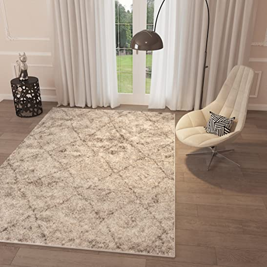 Beige Trellis Lattice Shag Area Rug 5' x 7'2'' Geometric Modern Contemporary Shag Area Rug Living Dining Room Bedroom Kitchen Rug Easy Clean Stain Resistant Carpet Soft Plush Quality Area Rug
