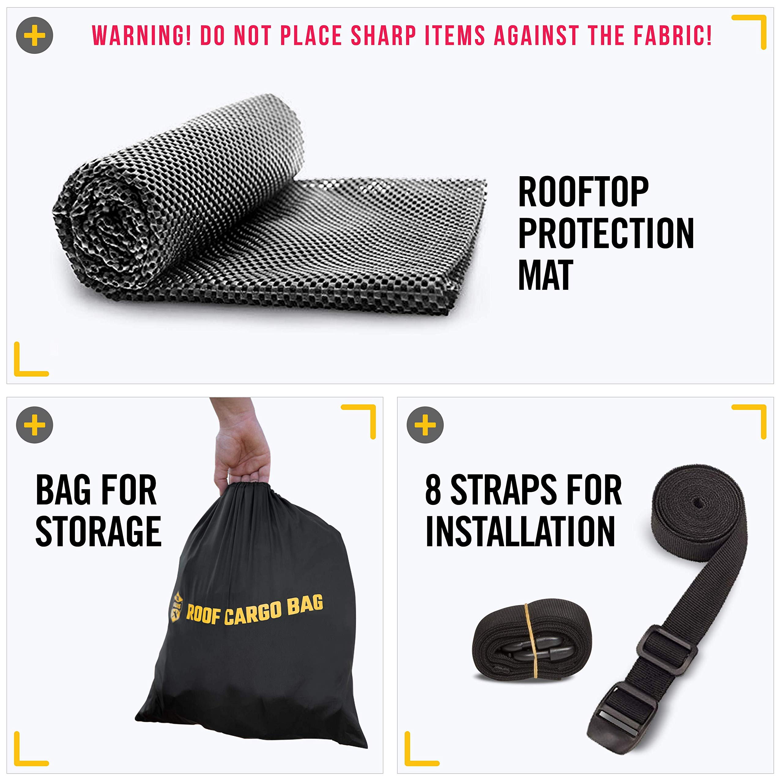 Car Top Carrier Roof Bag + Protective Mat - 100% Waterproof & Coated Zippers 15 Cubic ft - for Cars with or Without Racks by ToolGuards (Image #2)