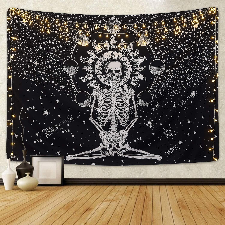 CHARMINER Skull Tapestry Meditation Skeleton Wall Hanging Tapestry, Chakra Starry Tapestry-Black and White Stars, Mural for Bedroom, Living Room, Dorm, Home Decoration 51.2