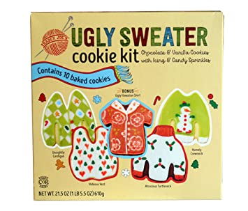 Trader Joe S Ugly Sweater Cookie Kit Chocolate And Vanilla Cookies With Icing And Candy Sprinkels