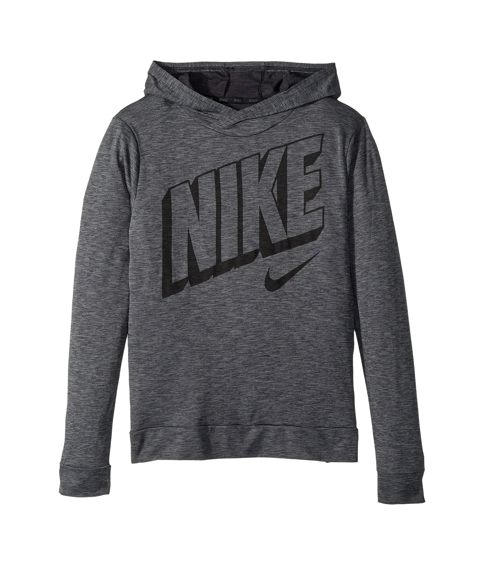 Nike Boy's Breathe Graphic Hoodie (Black/Cool Grey, Large)