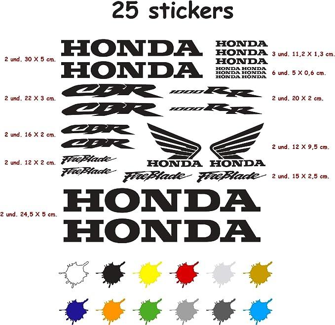 Kit Pegatina Adhesivo Vinilo 7 a/ños Troquelado Compatible con Honda CBR 1000 RR Contiene 25 Pegatinas Gris Oscuro
