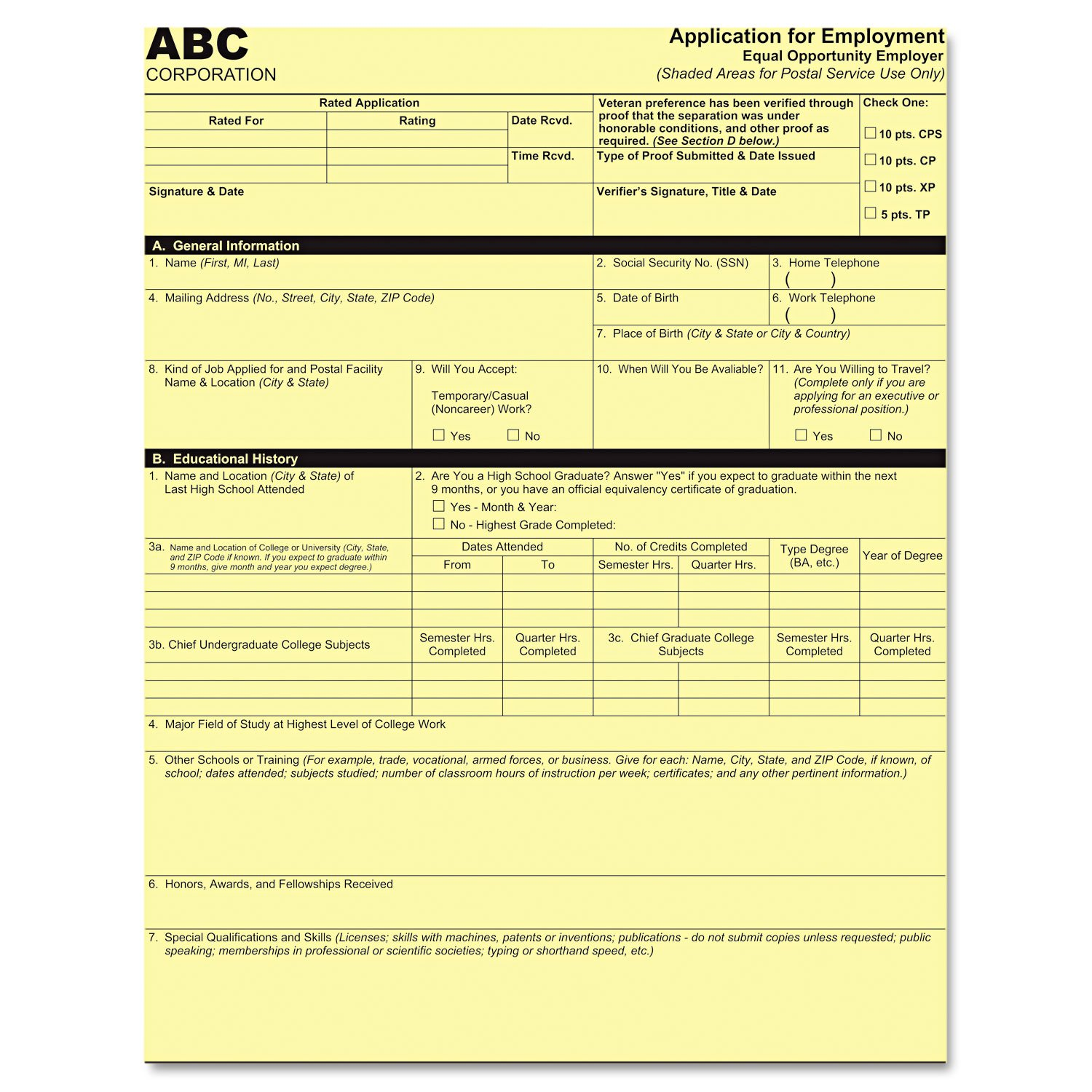 PM COMPANY Digital Carbonless Paper 8-1/2 x 11 Inches One-Part, Canary, 500 Sheets per Pack (PMC59100)