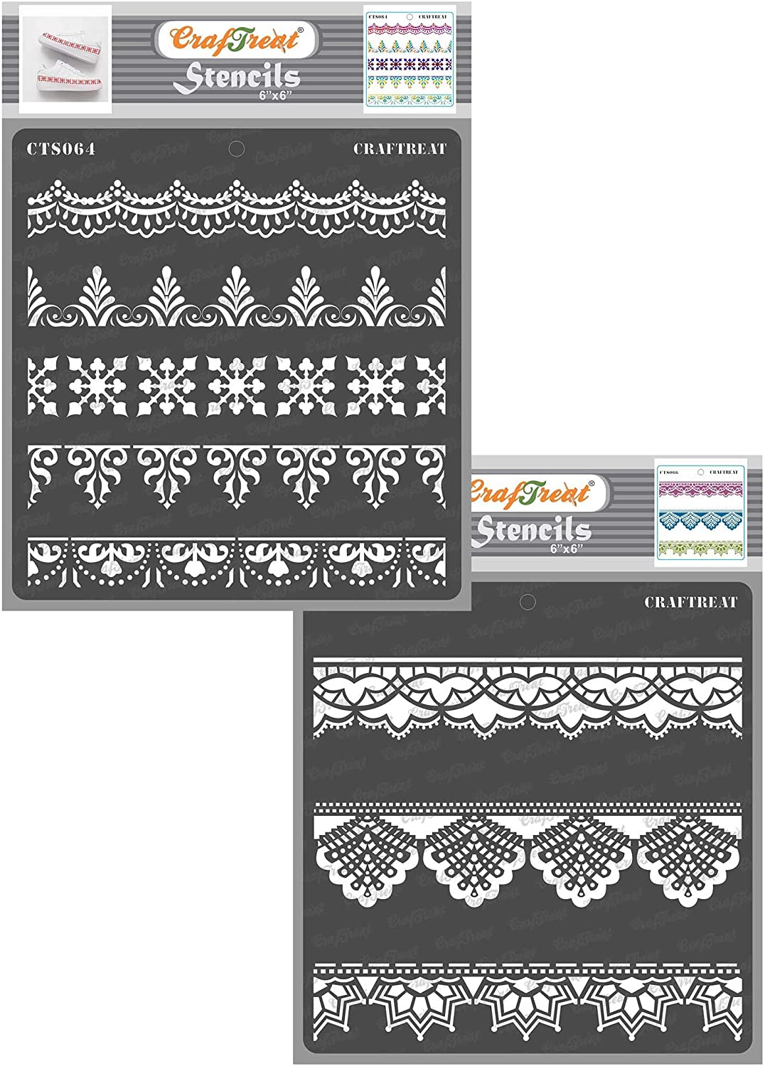 CrafTreat Ornate Border Lace Stencils for painting on Wood, Canvas, Paper, Fabric, Floor, Wall and Tile - Ornate Borders and Lace - 2 Pcs - 6x6 Inches each - Reusable DIY Art and Craft Stencils