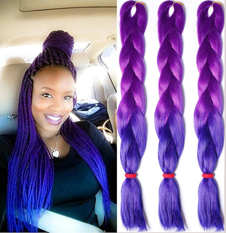 Amazon 3pcslot Ombre Kanekalon Purple To Blue Braiding Hair