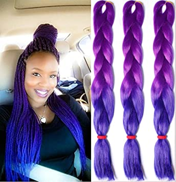 Amazon 3pcslot ombre kanekalon purple to blue braiding hair 3pcslot ombre kanekalon purple to blue braiding hair extensions 24quot 100gpc pmusecretfo Gallery