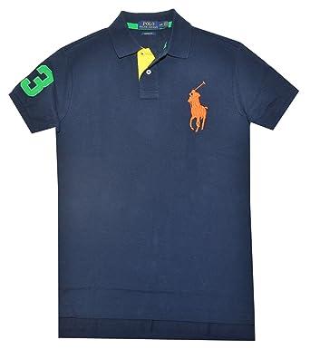 Polo Ralph Lauren Mens Big Pony Mesh Custom Fit Polo Shirt (Navy/Orange,