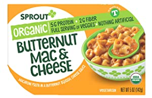 Sprout Organic Baby Food, Toddler Meals, Macaroni Pasta with Butternut Squash Cheese Sauce, 5 Oz Bowl (1 Count)
