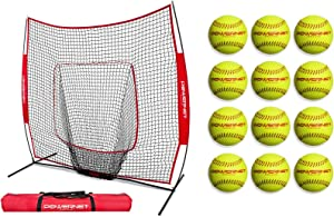 PowerNet Baseball Softball Practice Net 7x7 + 12 Pack Softballs Bundle | Practice Hitting, Pitching, Batting, Fielding | Training Equipment Gear Perfect for Coaches