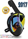 Full Face Mask For Snorkeling- Easy Breath- 180⁰ Panoramic Seaview- Rainbow Mirror Lenses HD- Design Scuba Mask- Anti-Leak & Anti-Fog- Diving Mask- Adjustable Silicone Straps