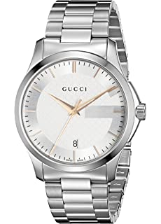Gucci G-Timeless Stainless Steel Mens Watch with Triple-Link Bracelet(Model: