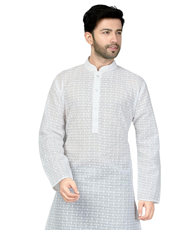 d2234321a9 Amazon.com: TrendyFashionMall Mens Traditional Embroidery Work Long Kurta  White-10 XXL-46: Clothing