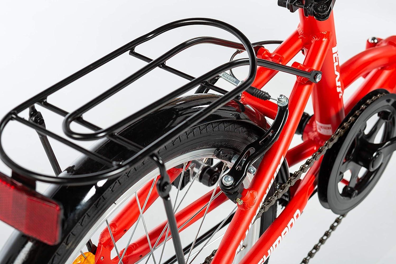 Unique Moma Bikes II  V/élo de Ville Pliant First Class 20 SHIMANO 6V Aluminium Selle Comfort Mixte Adulte Rouge