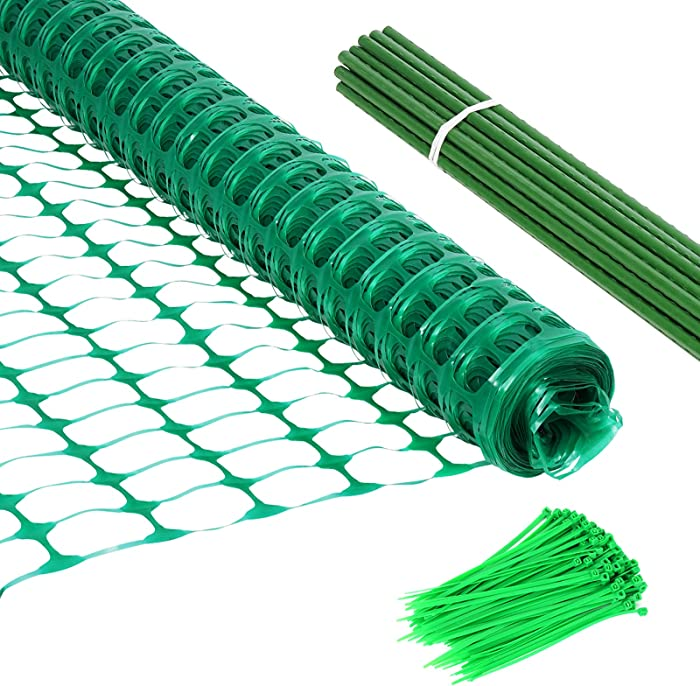 Garden Fence, Plastic Safety Fence 4' x100' with Steel Plant Stakes& Zip Ties –Plastic Netting Mesh Barrier for Dogs Plants