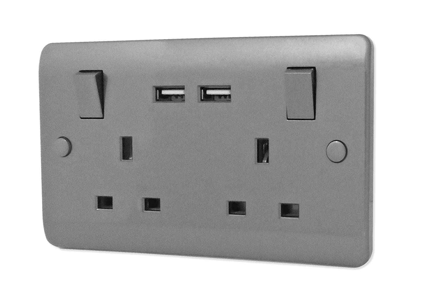 iSocket USB Wall Socket Gun Metal Grey 2 Gang 13A: Amazon.co.uk ...