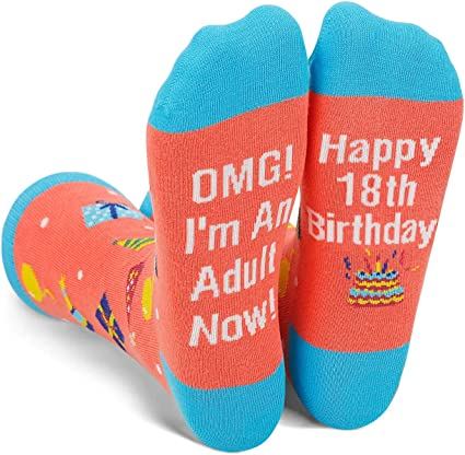 18th Birthday Gift - Funny 18 th Birthday Socks