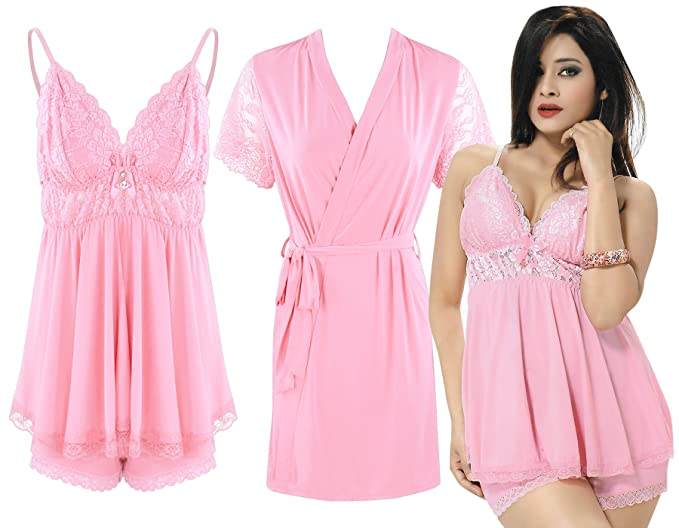 9543c3863f4a Women s Sexy Lingerie Sleepwear Babydoll Chemise Robe Red Night Dress 3 Pcs  Set-Baby Pink