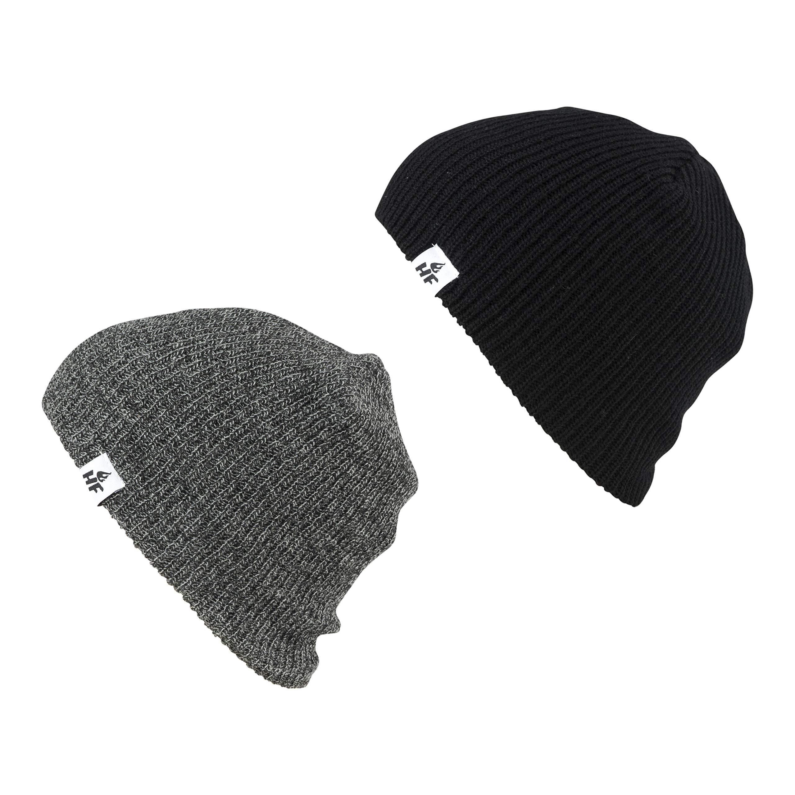 HOT FEET Winter Beanies | Warm Knit Men's and Women's Snow Hats/Caps | Unisex Pack/Set of 2 - (Heather Gray/Black)