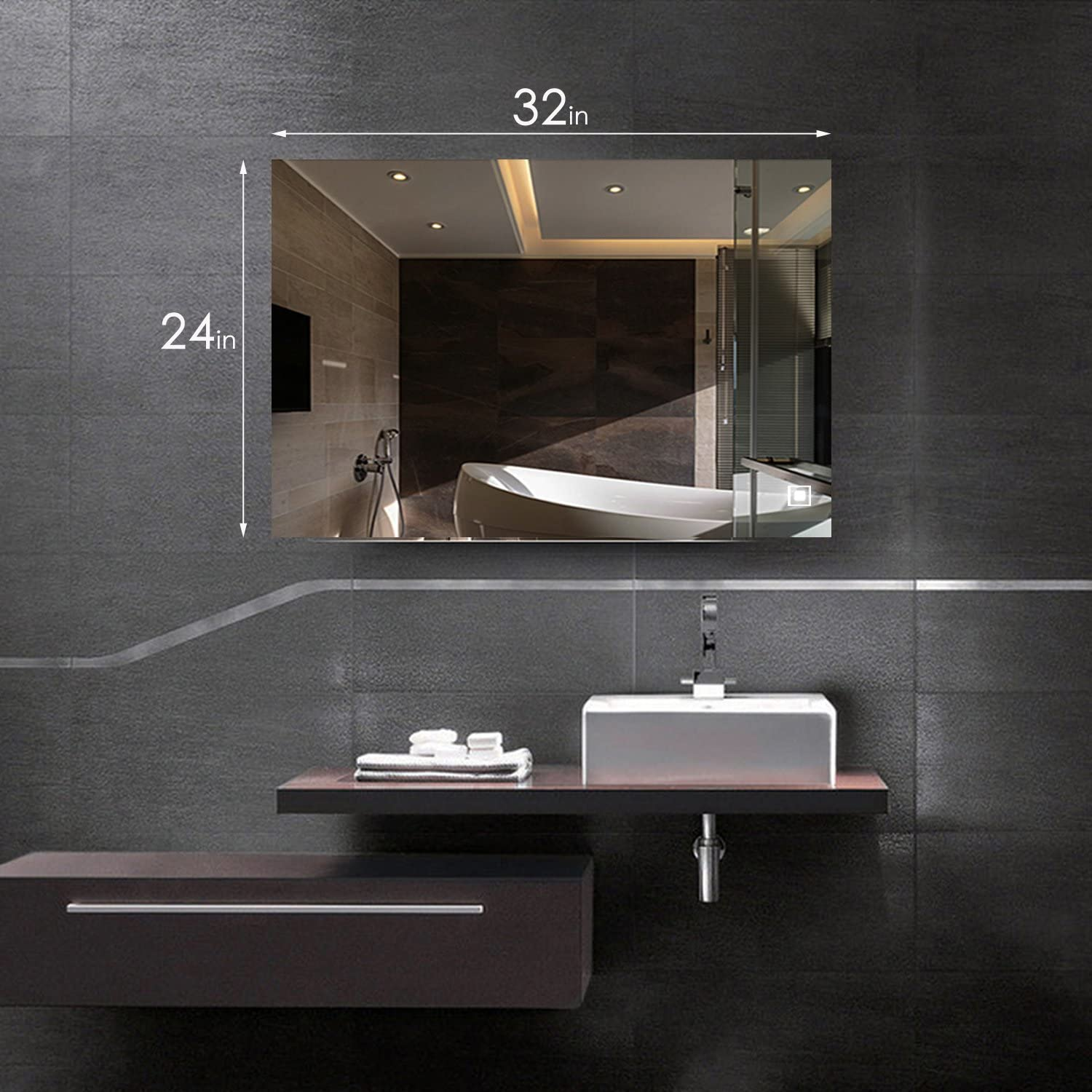 Hans Alice 32 X 24 Led Lighted Vanity Bathroom Mirror With Touch Button Makeup Mirror Wall Bar Mirror Silver Home Kitchen