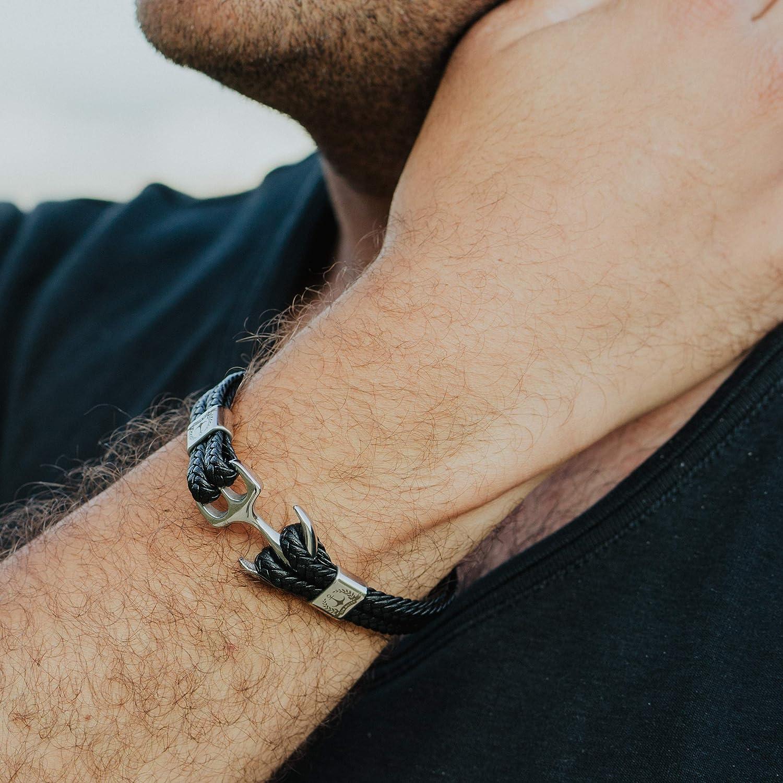 Tom Miller/® Bracelet Ancre couleur argent Cuir de haute qualit/é Cadeau pour Hommes