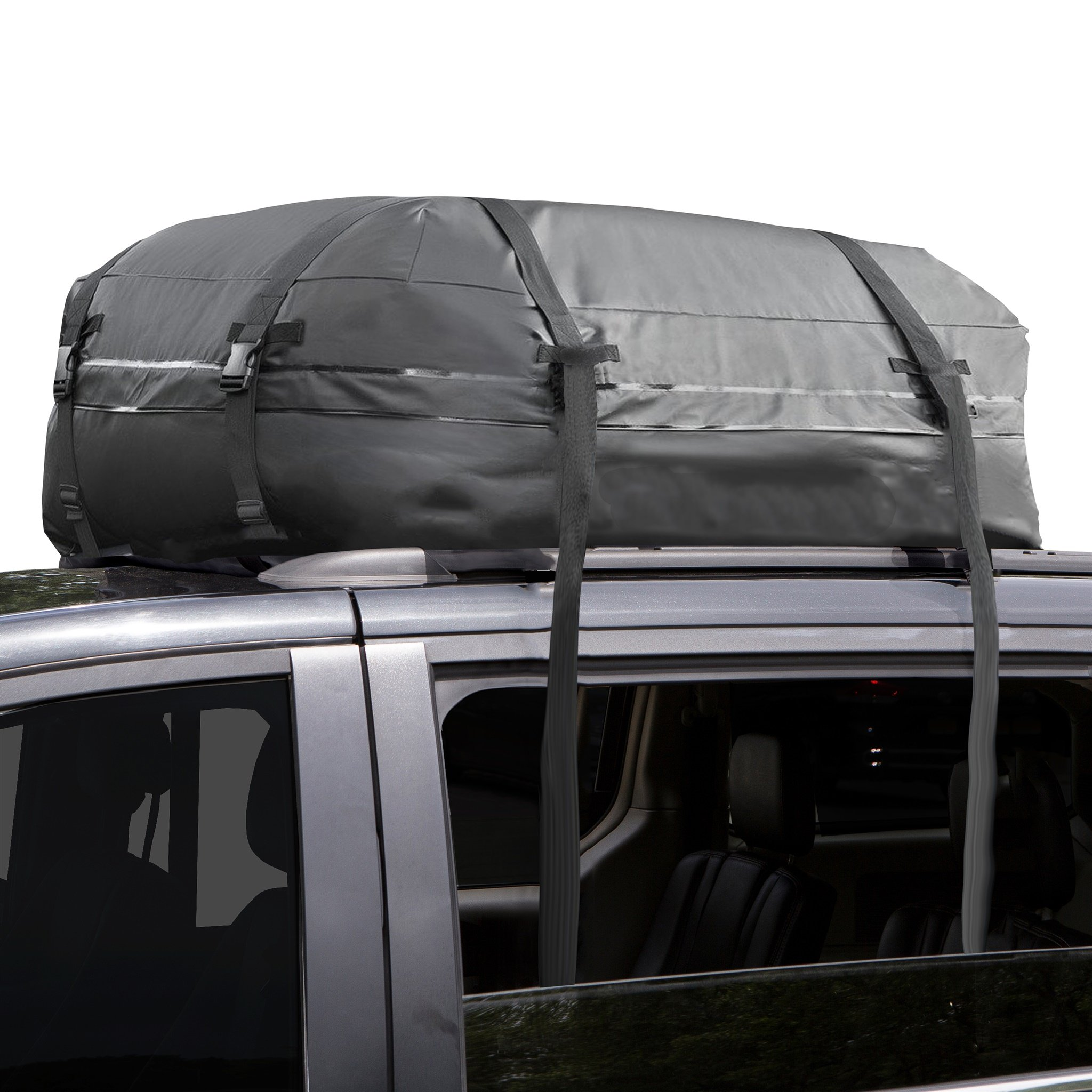 Cargo Roof Bag - 100% Waterproof - NO RACKS NEEDED - Easy to Install - Soft Rooftop Luggage Carriers with Wide Straps -Folds Easily - Best for Traveling, Cars, Vans, SUVs (Black - 15 Cubic Feet) by BD Covers