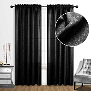 Black Curtains 84 Inches Long for Living Room Set 2 Rod Pocket Fancy Glam Silver Glitter Shimmer Shiny Sparkle Design Light Filtering Semi Sheer Elegant Window Panels for Bedroom Decor 52x84 Length