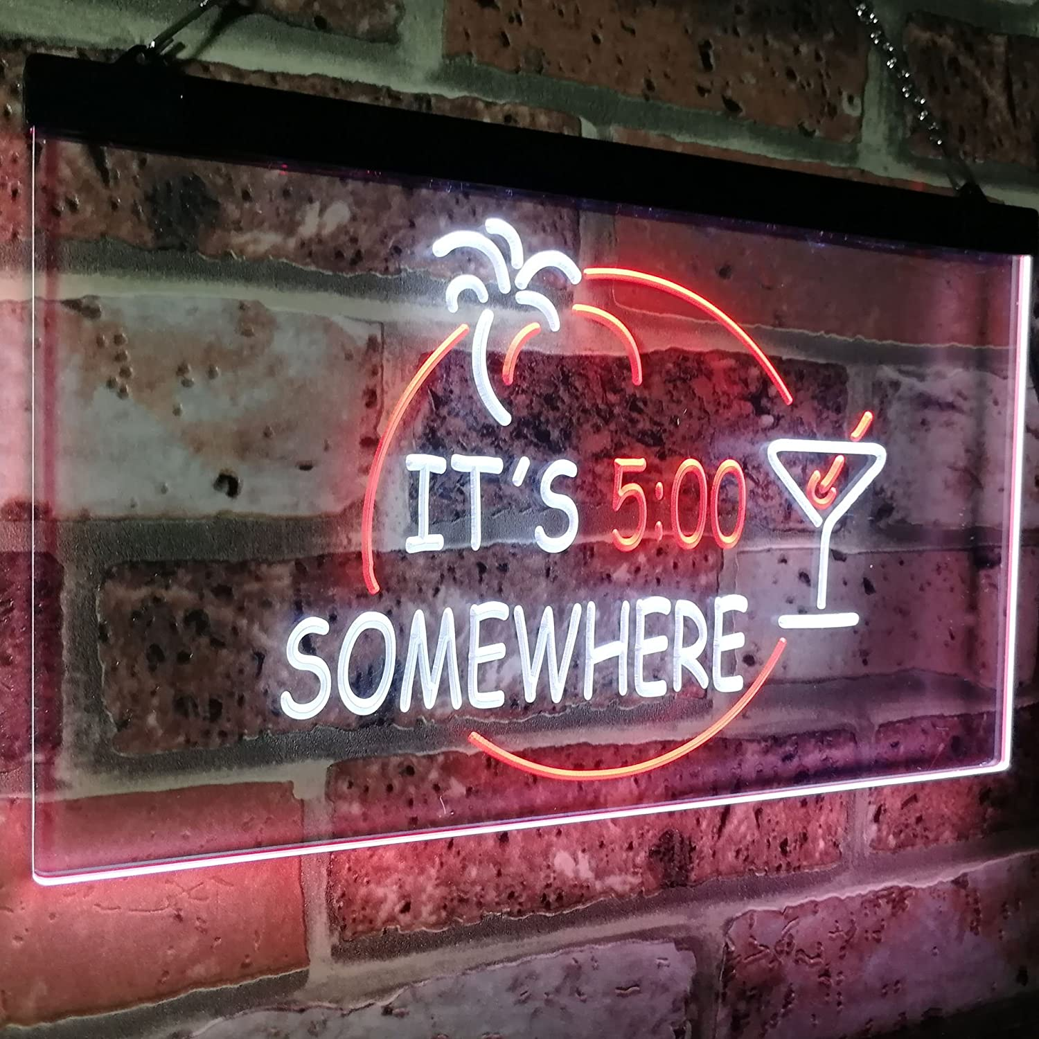 ADV PRO Its 5 pm Somewhere Bar Beer Cocktails Dual Color LED Neon Sign Red /& Yellow 300 x 210mm st6s32-i2090-ry